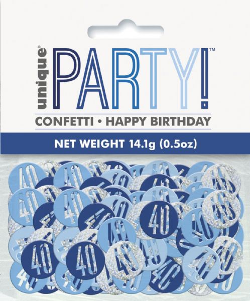 Glitz Blue Age 40 Table Confetti